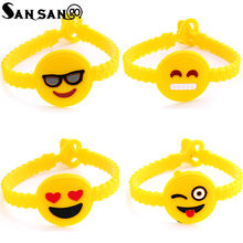 Trendy Cute Cartoon Emoji Wristband Rubber Bracelet Funny Expression Silicone Bracelets Jewelry For kids(China)