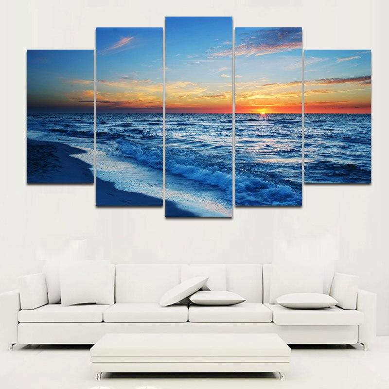RELIABLI Duvar Sanatı HD Baskı Deniz Manzarası Resim Sergisi Modüler Posterler 5 Paneller Deniz Ve Sunrise Resimler Tuval Baskı Ev Dekor Çerçevesiz