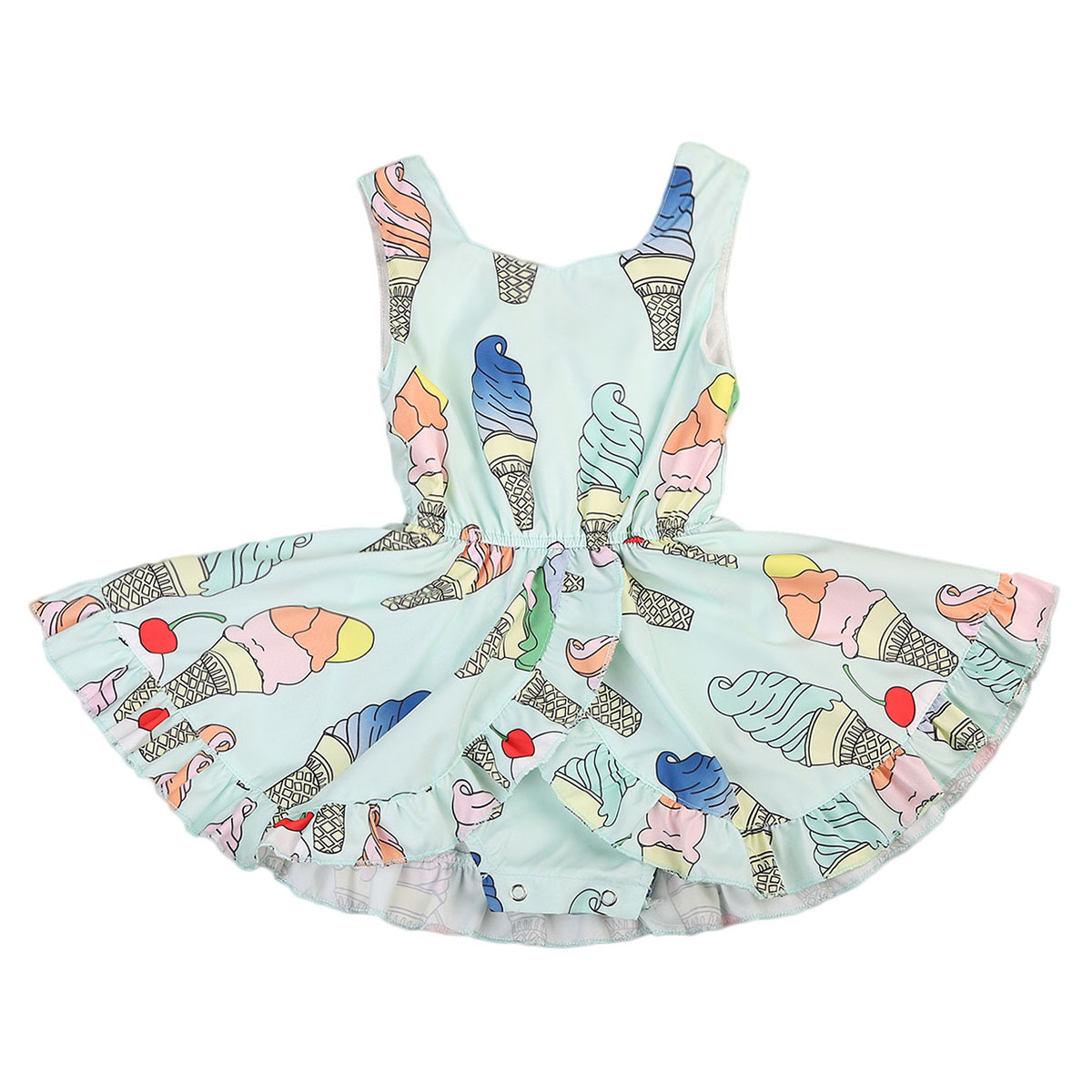 Cute Toddler Baby Girls Ice Cream Romper Dress Sunsuit Jumpsuit Clothes