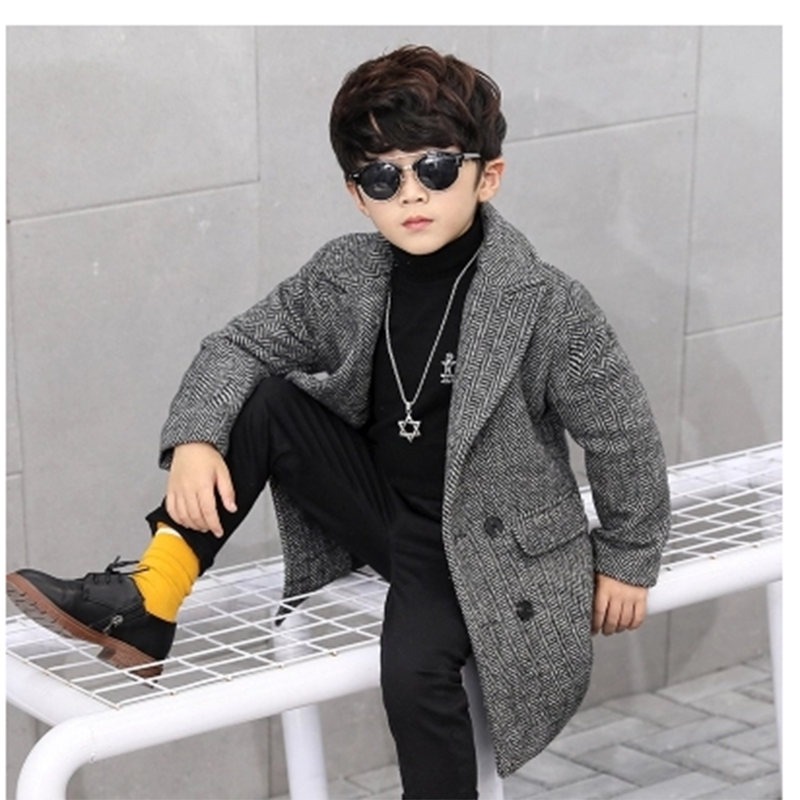 Children's wear 2018 autumn and winter new plaid fashion woolen coat children's long wool double-breasted jacket boy windbreaker недорго, оригинальная цена
