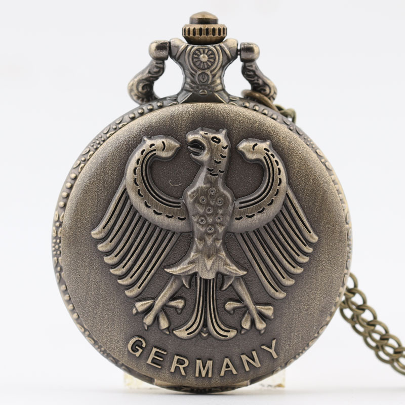Pocket & Fob Watch Germany National Emblem Pocket Watch with Necklace Chain Quartz Watches for Men/Women Gift