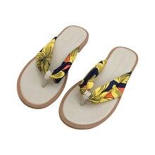 цена на BUROCH Women Beach Flip Flops 2019 summer new bohemian flower beach sandals soft bottom flat flip-flops women's flat slippers