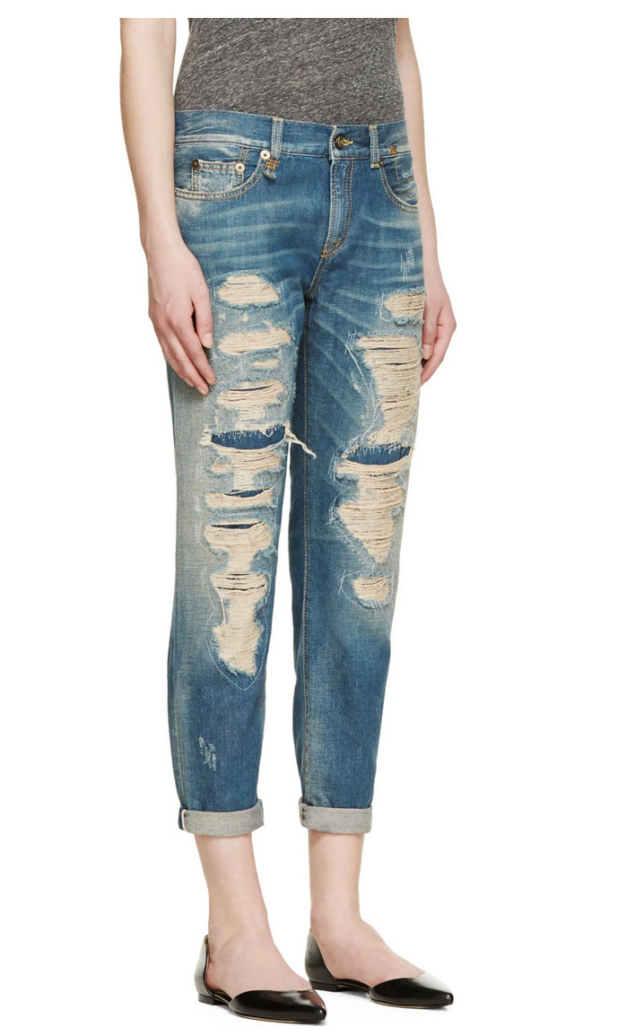 Brand Design Original Retro Cropped Denim Jeans Front ...