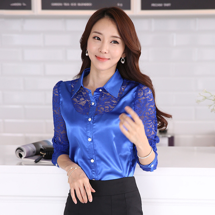 White Satin Blouse Long Sleeve 72