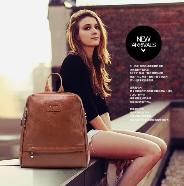 Girl's women's ladies genuine leather backpack shoulder student bag satchel book school fashion popular
