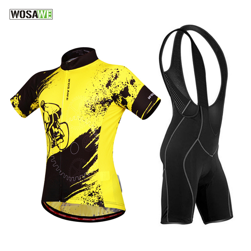 WOSAWE Bicycle Cycling Short Sleeve Jersey + 3D Coolmax Padded Bid Shorts Set Breathable Quick-Dry MTB Road Bike Clothing Suit new flowers skulls woman s bicycle jersey shorts suit bike bicycle short sleeve clothing set sportswear cycling clothes