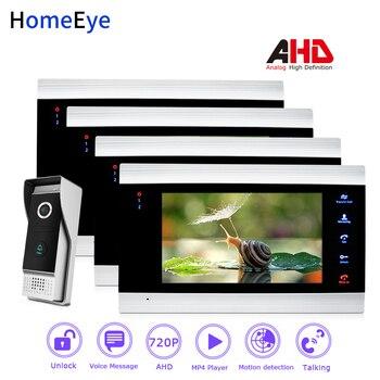 HomeEye 720 P AHD Görüntülü Kapı Telefonu Görüntülü Interkom Ev Erişim Kontrol Sistemi 1-4 Hareket Algılama Güvenlik Alarm kapı zili Hoparlör