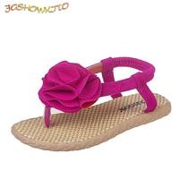 JGSHOWKITO Girls Sandals Kids Gladiator Floral Sandals Soft Children's Flip-flip Sandals 4-10 Yrs Girl With Flowers Princess Hot