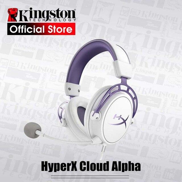 קינגסטון HyperX ענן אלפא סגול מהדורה מוגבלת E ספורט אוזניות עם מיקרופון Headset משחקים עבור מחשב PS4 Xbox נייד