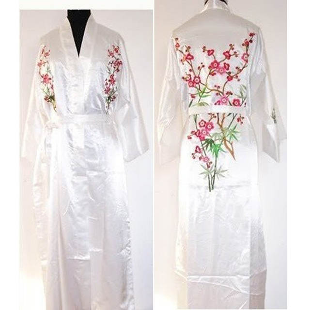 New Red Chinese Women s Silk Robe Gown Novelty Embroidered Sleepwear Kimono  Yukata Gown Flower S M L XL 0139a1d04