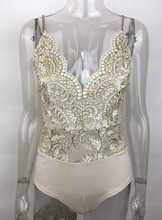 Beyprern Elegant Embroidery Floral Lace Bodysuit Overalls Summer Womens Sexy Deep V Neck Crochet Lace Bodysuit Rompers Clubwear(China)