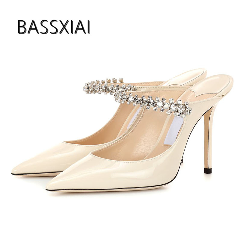 2019 Chic Design Gladiator Sandals Woman Pointed Toe Rhinestone Jewel Chain High Heel Shoes Women Sexy