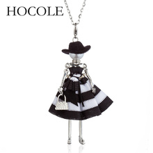 HOCOLE NEW Doll Hat Girls Pendant Silver Color Long Chain Necklace Handbag Charm Jewelry For Women 2018 Lovely Accessories Gift