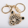 Crystal tiger keychains keyrings fashion rhinestone animal key ring luxury women key chain bag charm car key holder factory sale