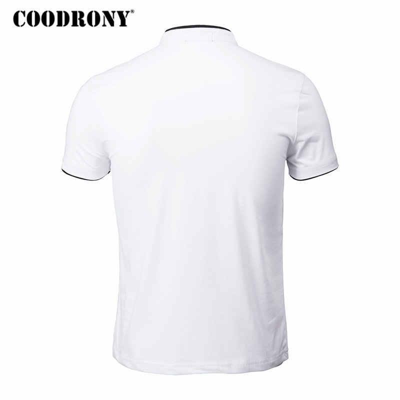 COODRONY Mandarijn Kraag Korte Mouwen Tee Shirt Mannen 2019 Lente Zomer Nieuwe Top Mannen Merk Kleding Slim Fit Katoenen T-Shirts s7645