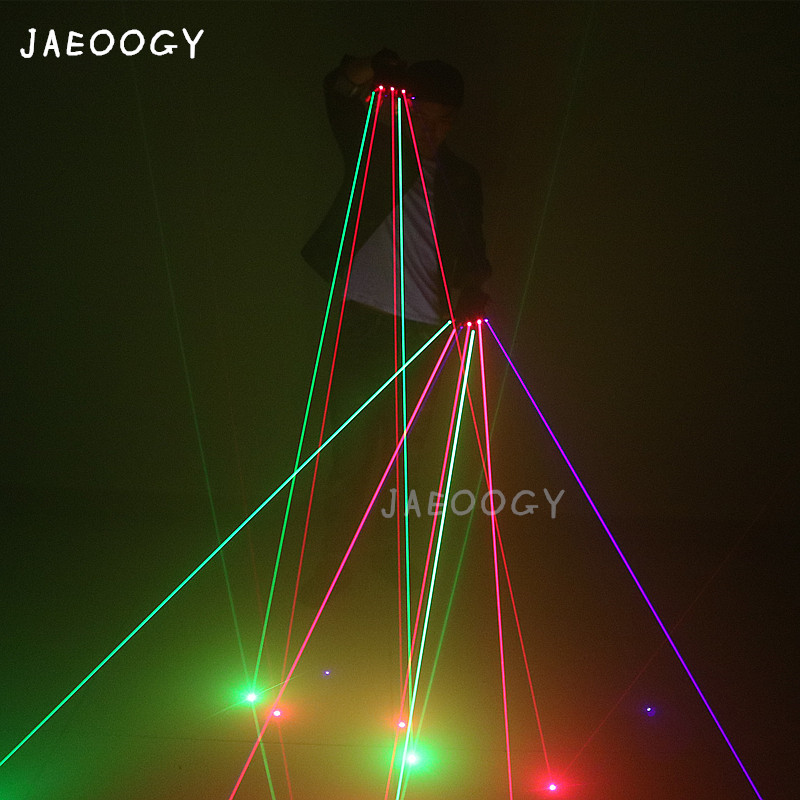 Free Shipping Color Laser Gloves Dance Party Night Show Dancing DJ Singer Light Props Halloween Laser Show Supplies in Glow Party Supplies from Home Garden