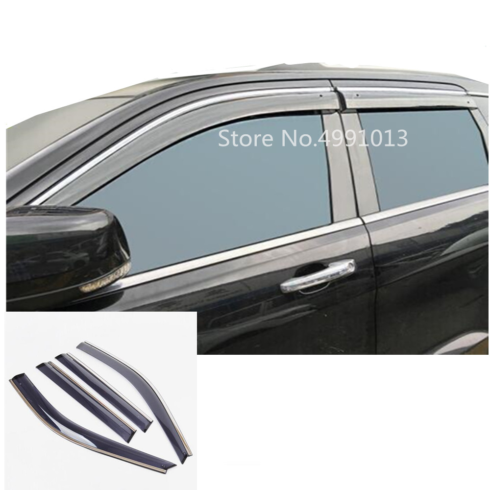 For Jeep Grand Cherokee 2014 2015 2016 2017 2018 car cover sticker plastic window glass wind visor rain sun guard vent 4pcs-in Awnings & Shelters from Automobiles & Motorcycles