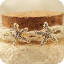 Женские серьги клипсы со стразами в форме морской звезды без