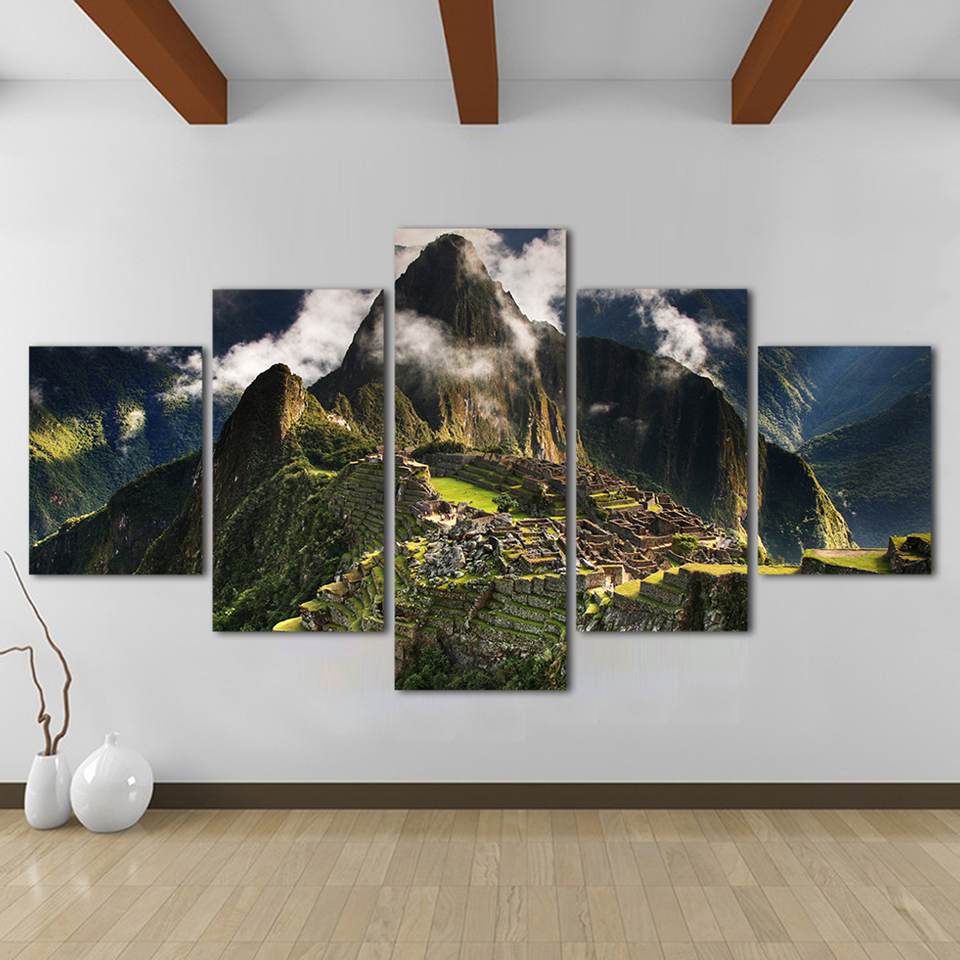 Canvas HD Print Paintings Living Room Decor 5 Pieces Machu Picchu Peru Mountains Pictures Clouds Hills Landscape Poster Wall Art