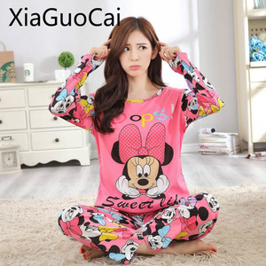 Spring and Autumn Womens Pajama Set Newest Thin Long-sleeved Ladies Pajamas Girls Cartoon Cute Cartoon Home Sleepwear