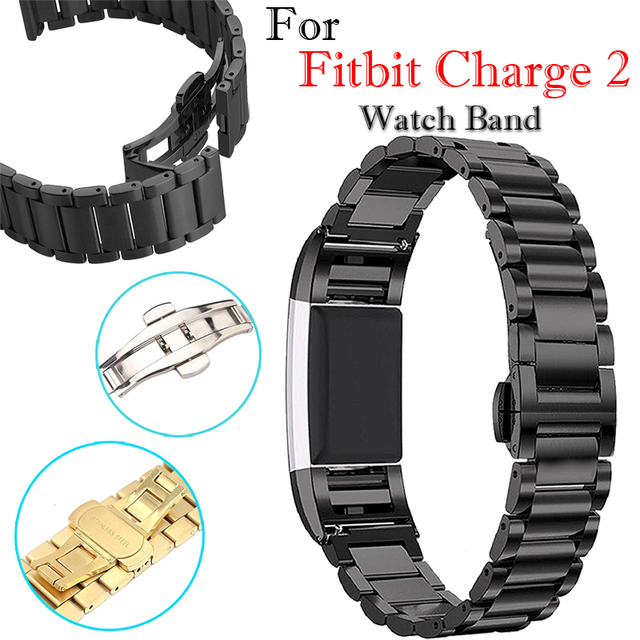 Luxury Metal Replacement Band for For Fitbit Charge 2 Heart Rate Smart Wristbands Bracelet Watch Men Stainless Steel Black Strap