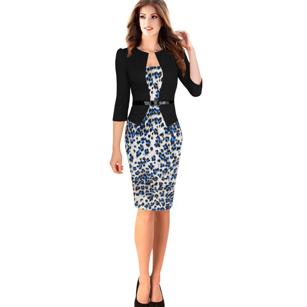 Formal Women Winter Dress With Belt Plus Size XXL Slim Dresses ...