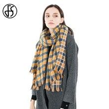 2c72f8b54ed FS écharpe à carreaux jaune femmes écharpes en cachemire grande couverture  automne hiver cou chaud châles et enveloppes avec des.