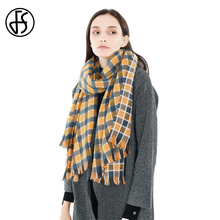 b0cdd8310 FS Yellow Plaid Scarf Women Cashmere Scarves Large Blanket Autumn Winter  Neck Warm Shawls And Wraps