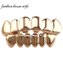 Fashion House Wife Gold/Silver GRILLZ Top & Bottom Teeth Set Joker Mouth Teeth Caps Hiphop Jewelry Gift  Wholesale NL0007