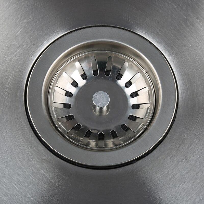Évier de cuisine simple en acier inoxydable évier de cuisine simple fente plat bassin 41x41cmx20cm avec panier de vidange et tuyau de vidange - 3