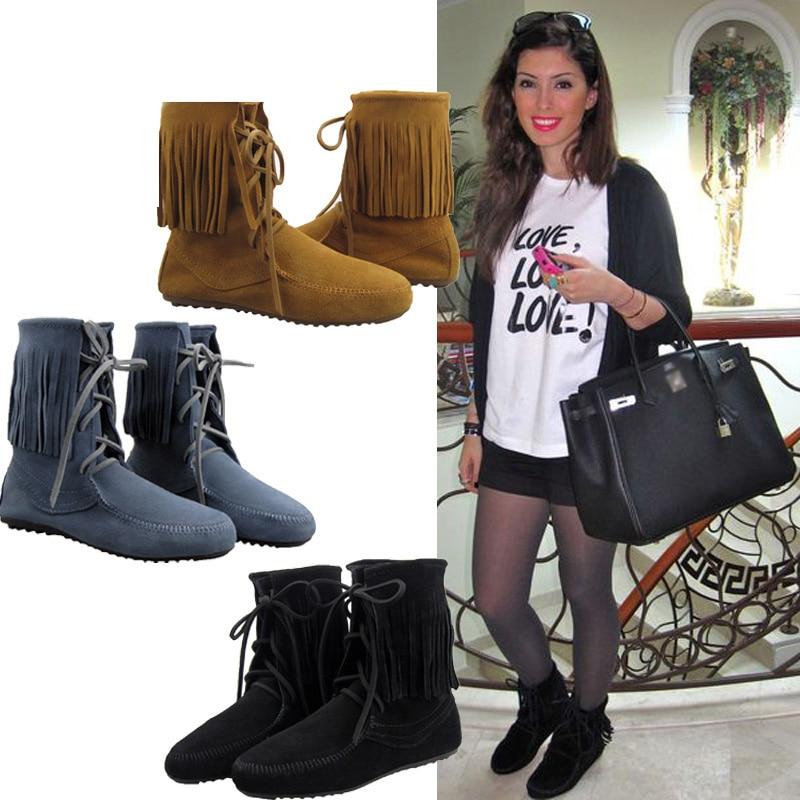 2015 Lace Shoes Boots Ankle Fringe Lace