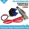 Kit vulcão-J-cabeça Hotend Impressora 3D com Ventilador De Refrigeração Único para 1.75/3.0mm Universal Extrusora 0.2mm --- 1.2mm Bico