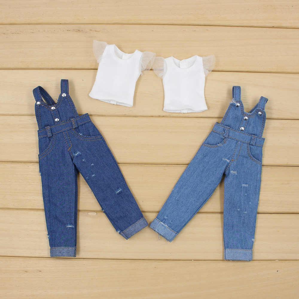 Одежда для 1/6 года; голубой джинсовый комбинезон с кружевом; белая рубашка; Бесплатная доставка