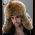 Star Fur 2016 Genuine Silver Fox Fur Hats Men Real Raccoon Fur Lei Feng Cap for Russian Men Bomber Hats with Leather Tops