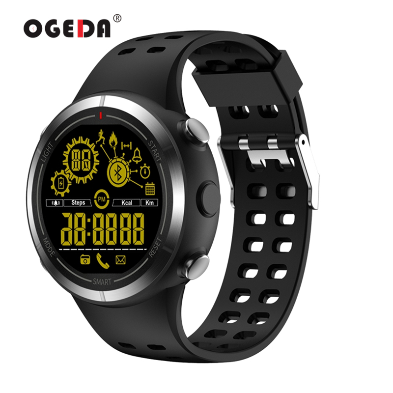 OGEDA 2019 Watch Men Smart Sport Bluetooth 50m Waterpoof Call SMS Alert Stopwatch Camera Stainless steel Band For IOS AndroidOGEDA 2019 Watch Men Smart Sport Bluetooth 50m Waterpoof Call SMS Alert Stopwatch Camera Stainless steel Band For IOS Android