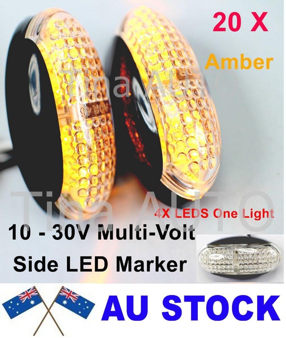 ᗐTkeapl THTMH 20X12 V 24 V Multi-Voltaje ÁMBAR RED Light Side LED ...