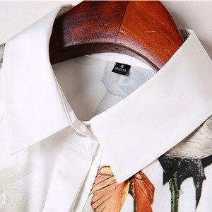 Image 5 - Mode Rose imprimé chemise femmes printemps nouveau tempérament à manches longues en mousseline de soie blouse bureau dames personnalité grande taille hauts