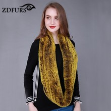 ZDFURS *  Women Infinity fur scarf Circle long rabbit fur scarf winter warm street fashion rex rabbit fur scarf