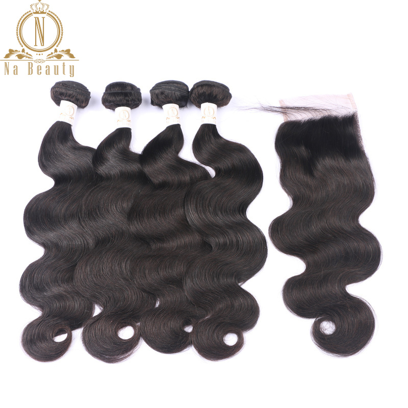 Brazilian Human Hair Body Wave 4 Bundles Remy Hair With Lace Closure Wefts With Closure Free Part Bundles Deal Hair Extensions