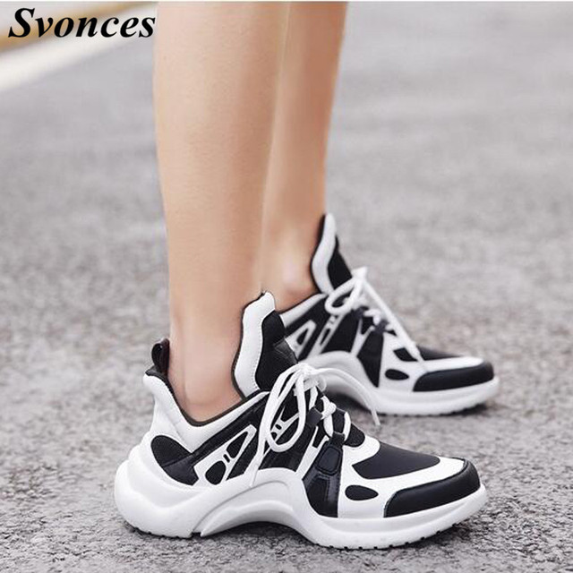 Svonces 2018 Chic Sneakers Women Lace Up Casual Shoes Breathable Runners  Shoes Patchwork Thick Sole Platform Sneakers For Lovers d207ed3b3625