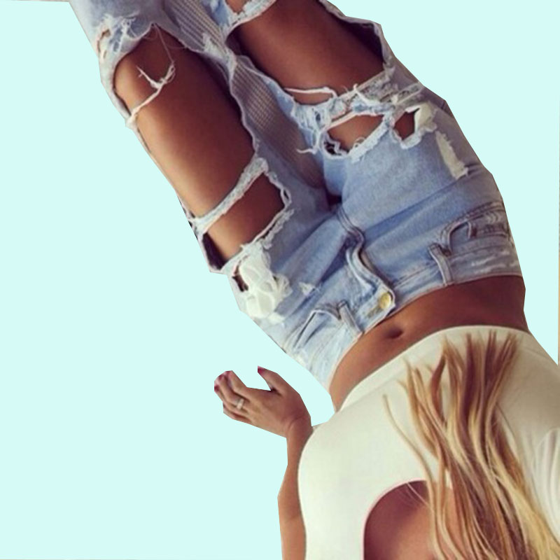 Women Plus Size Vintage Torn Jeans Casual Washed Holes Ripped Denim Sky Blue White Trousers Female Pants QL1029