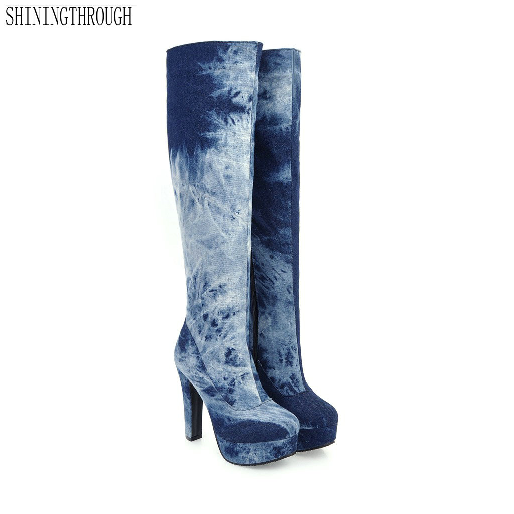 New denim High Heels women boots Big Size Boots for Over The Knee High Shoes Woman