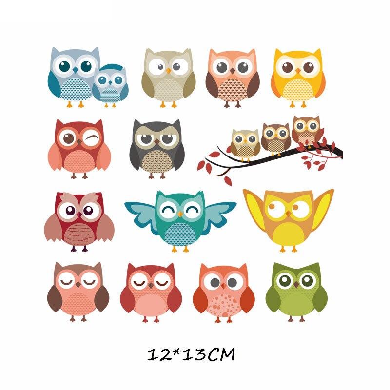 Набор патчей с изображением животных из мультфильмов, милые патчи с изображением единорога, кошки, совы, собаки, цветов для детей, одежда для девочек, футболка, сделай сам, термопресс - Цвет: 575