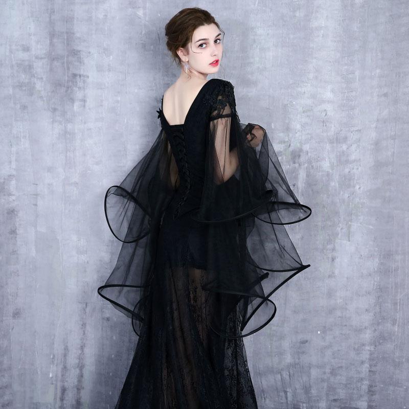 Gratis schip zwart/lichtblauw sea queen/dark queen lange vintage jurk/zee thema/studio stage lange jurk/halloween - 4