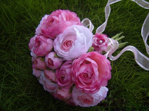 Lovely Rose Red Tea Rose Bride Flower Bouquet Silk Wedding Flower