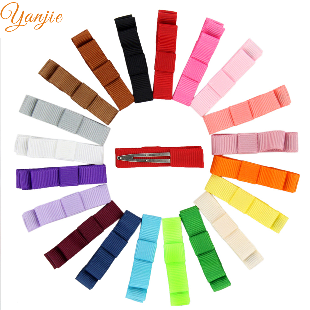 100pcs lot 45mm Grosgrain Ribbon Hair Clips For Girls Pronged Alligator Clips Solid Hair Bows Headwear