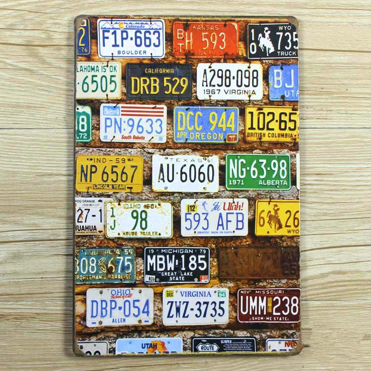 Hot sales The license plate number Tin signs Retro decoration Vintage Metal plaque Painting Poster decor 20X30 CM