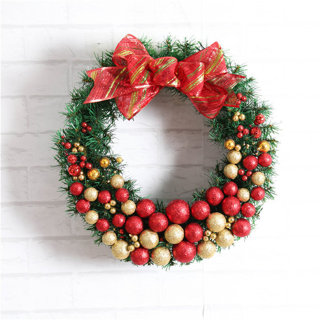 1pc artificial flower xmas wreath door decorative wedding hanging christmas wreaths garland for home decoration supplies - Artificial Christmas Wreaths Decorated