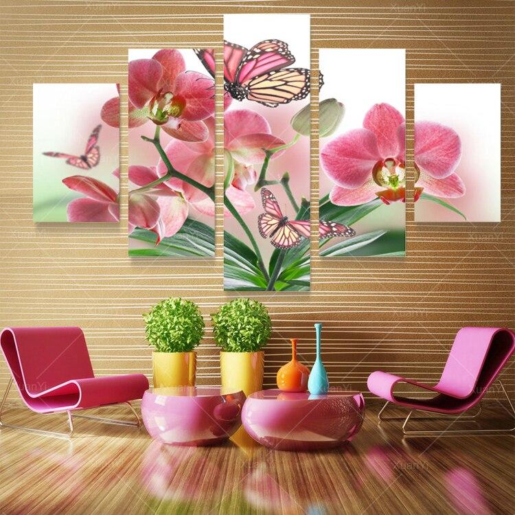 5 panel mariposa pintura óleo lienzo pintura impresa moderna cuadros ...
