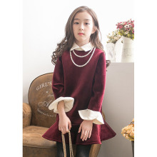 Chistmas Girls Dress Turn-Down Collar Dress Princess Vintage Fleece Party Dress Long sleeve Holiday Dress